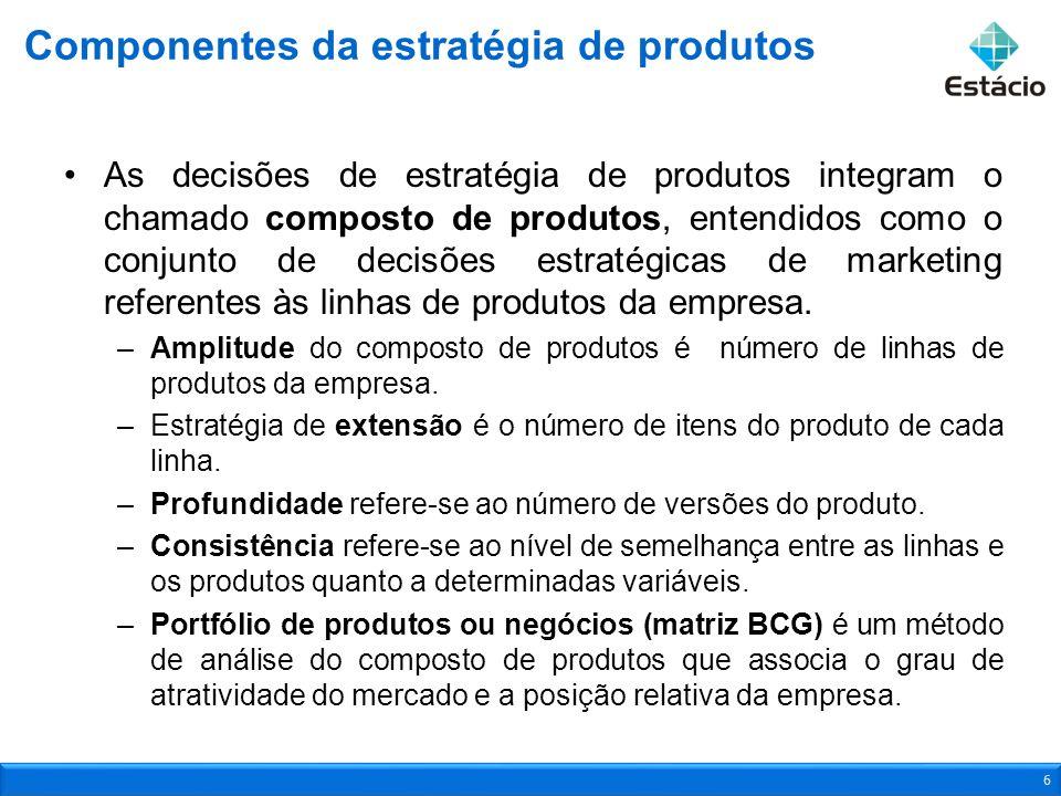 As decisões de estratégia de produtos integram o chamado composto de produtos, entendidos como o conjunto de decisões estratégicas de marketing refere