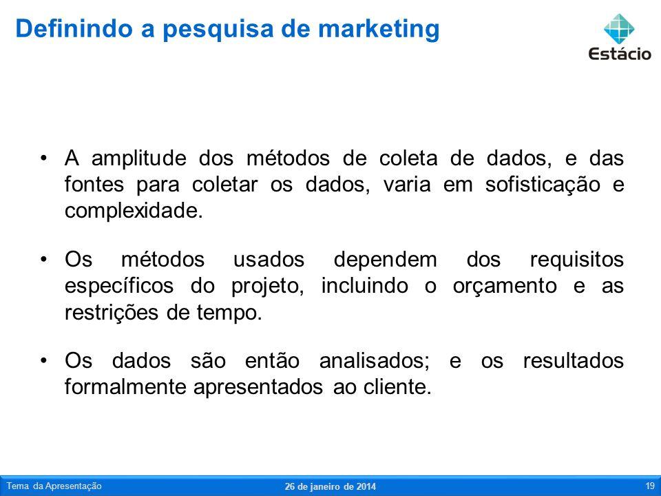 A pesquisa de marketing é sistemática segue um caminho previsível.