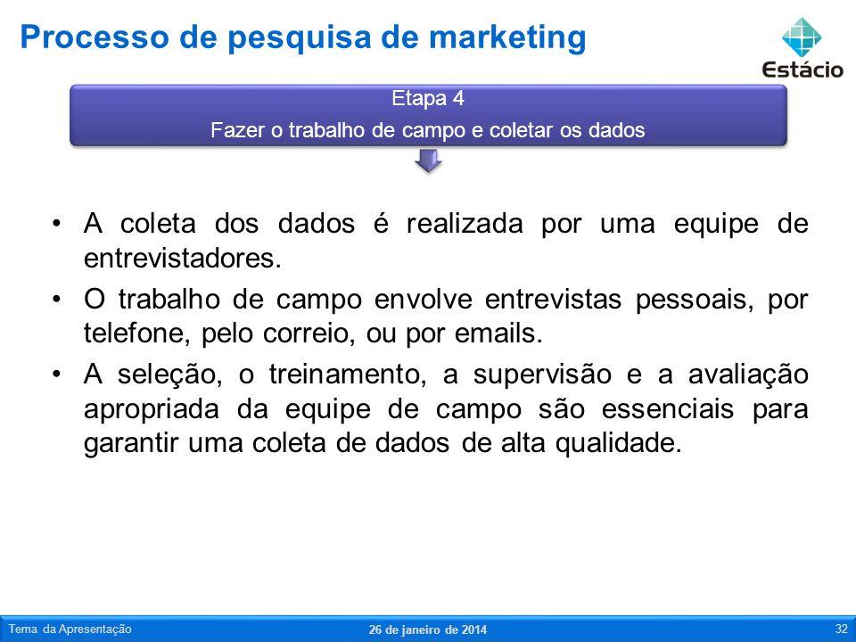 Processo de pesquisa de marketing 26 de janeiro de 2014 Tema da Apresentação33 O preparo dos dados envolve etapas do processamento de dados que levam à análise e inclui a edição, a cópia e a transcrição dos dados coletados.