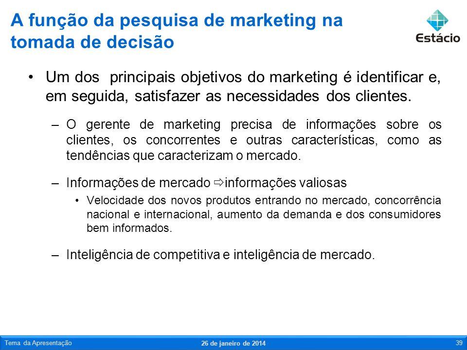 Um dos principais objetivos do marketing é identificar e, em seguida, satisfazer as necessidades dos clientes. –O gerente de marketing precisa de info
