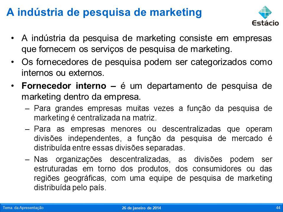 A indústria da pesquisa de marketing consiste em empresas que fornecem os serviços de pesquisa de marketing. Os fornecedores de pesquisa podem ser cat