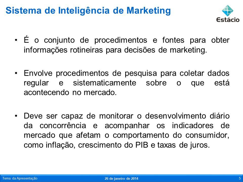 É o conjunto de procedimentos e fontes para obter informações rotineiras para decisões de marketing. Envolve procedimentos de pesquisa para coletar da