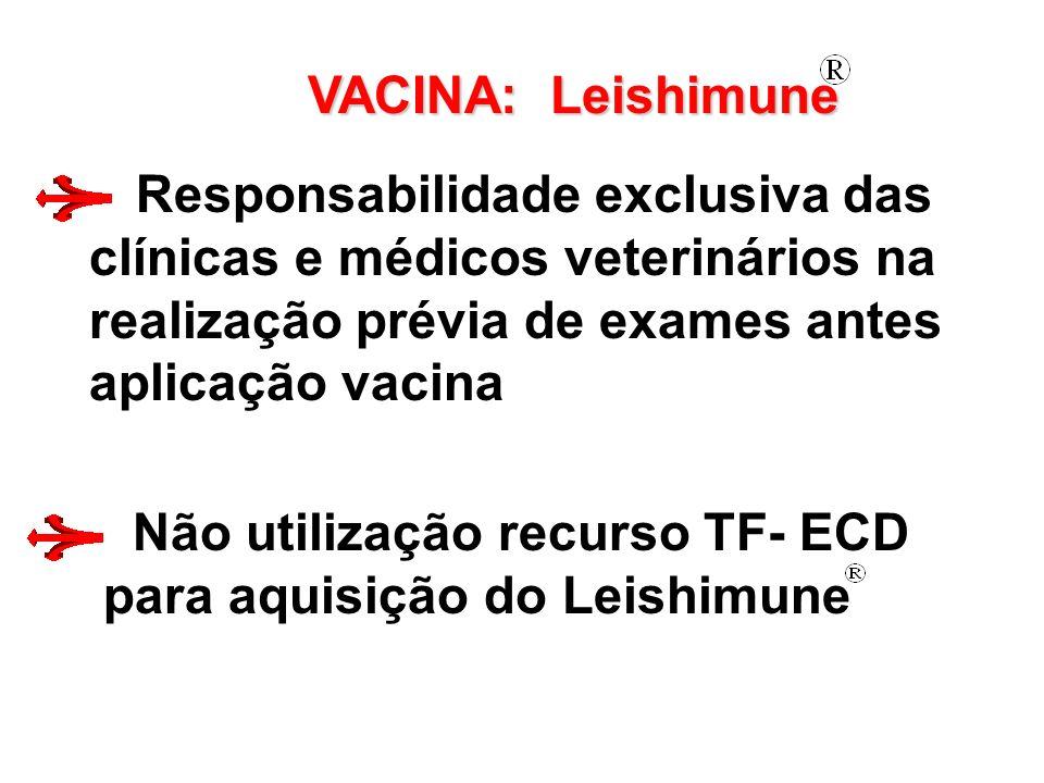 VACINA: Leishimune Responsabilidade exclusiva das clínicas e médicos veterinários na realização prévia de exames antes aplicação vacina Não utilização recurso TF- ECD para aquisição do Leishimune