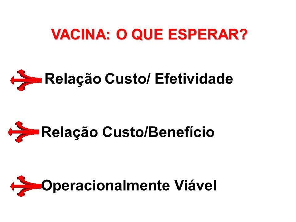 VACINA: O QUE ESPERAR Relação Custo/ Efetividade Relação Custo/Benefício Operacionalmente Viável