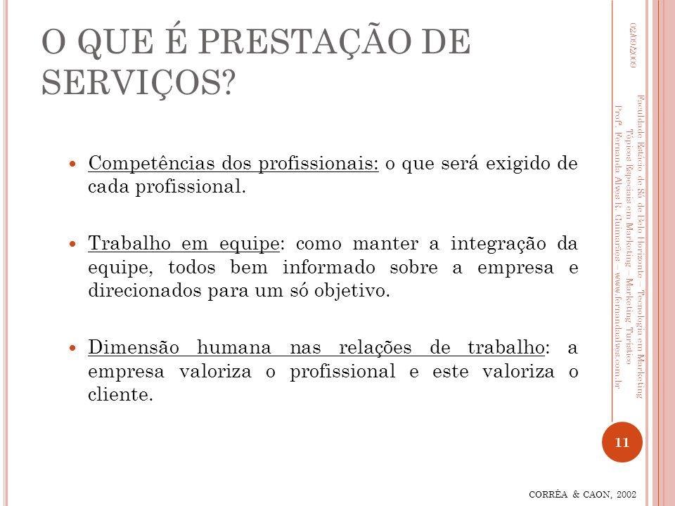O QUE É PRESTAÇÃO DE SERVIÇOS? Competências dos profissionais: o que será exigido de cada profissional. Trabalho em equipe: como manter a integração d