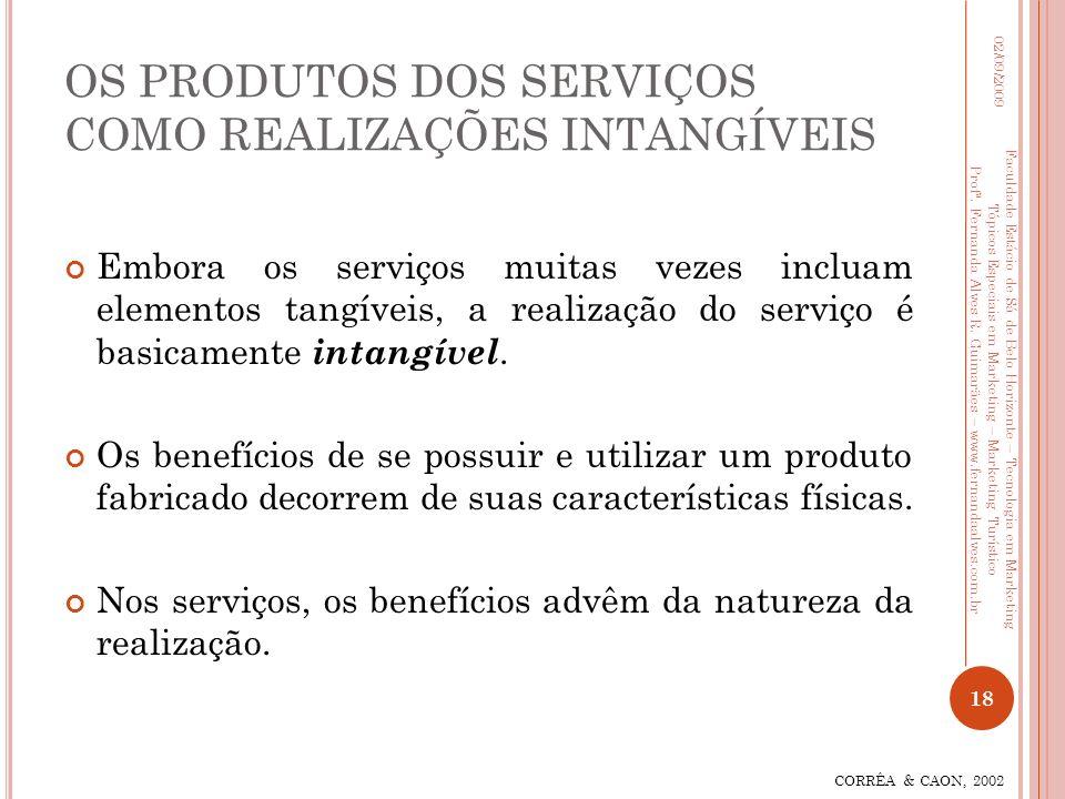 OS PRODUTOS DOS SERVIÇOS COMO REALIZAÇÕES INTANGÍVEIS Embora os serviços muitas vezes incluam elementos tangíveis, a realização do serviço é basicamen
