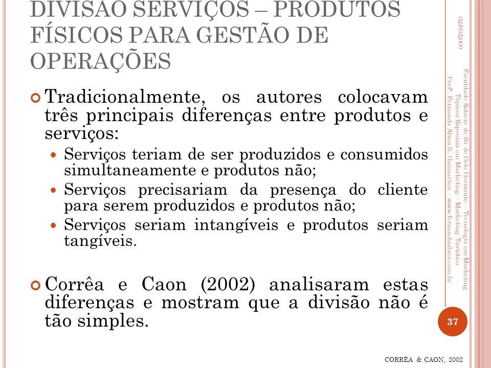 DIVISÃO SERVIÇOS – PRODUTOS FÍSICOS PARA GESTÃO DE OPERAÇÕES Tradicionalmente, os autores colocavam três principais diferenças entre produtos e serviç