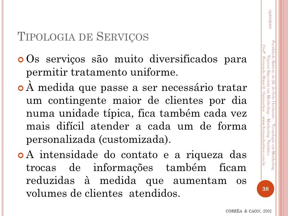 T IPOLOGIA DE S ERVIÇOS Os serviços são muito diversificados para permitir tratamento uniforme. À medida que passe a ser necessário tratar um continge