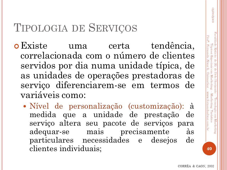 T IPOLOGIA DE S ERVIÇOS Existe uma certa tendência, correlacionada com o número de clientes servidos por dia numa unidade típica, de as unidades de op