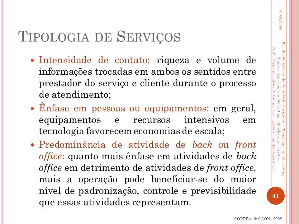 T IPOLOGIA DE S ERVIÇOS Intensidade de contato: riqueza e volume de informações trocadas em ambos os sentidos entre prestador do serviço e cliente dur