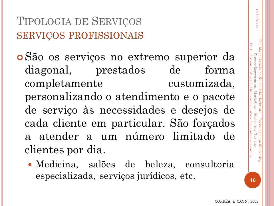 T IPOLOGIA DE S ERVIÇOS SERVIÇOS PROFISSIONAIS São os serviços no extremo superior da diagonal, prestados de forma completamente customizada, personal