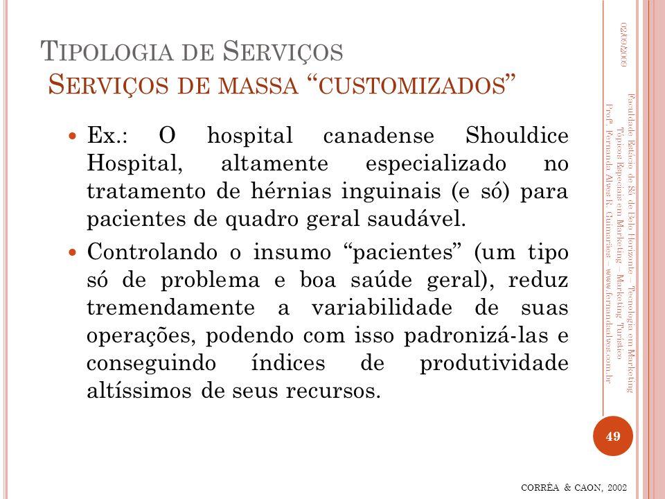 T IPOLOGIA DE S ERVIÇOS S ERVIÇOS DE MASSA CUSTOMIZADOS Ex.: O hospital canadense Shouldice Hospital, altamente especializado no tratamento de hérnias