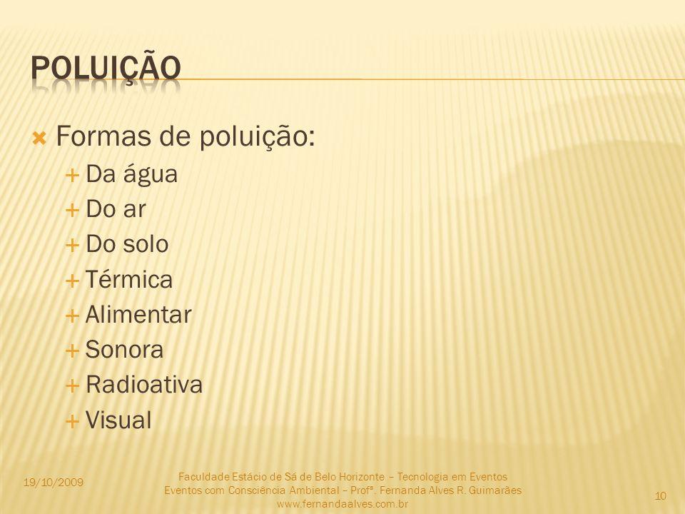 Formas de poluição: Da água Do ar Do solo Térmica Alimentar Sonora Radioativa Visual 19/10/2009 Faculdade Estácio de Sá de Belo Horizonte – Tecnologia