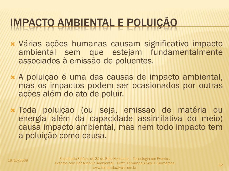 Várias ações humanas causam significativo impacto ambiental sem que estejam fundamentalmente associados à emissão de poluentes. A poluição é uma das c