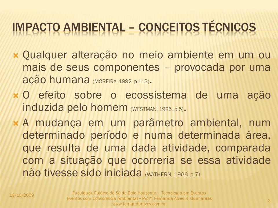 Qualquer alteração no meio ambiente em um ou mais de seus componentes – provocada por uma ação humana (MOREIRA, 1992. p.113). O efeito sobre o ecossis