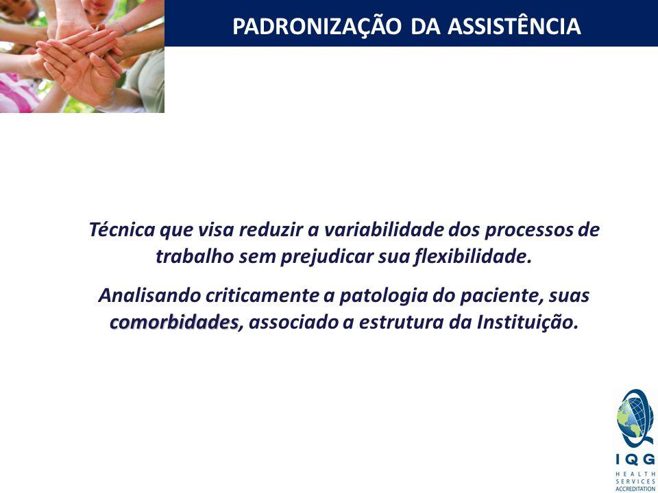 PADRONIZAÇÃO DA ASSISTÊNCIA Técnica que visa reduzir a variabilidade dos processos de trabalho sem prejudicar sua flexibilidade. comorbidades Analisan
