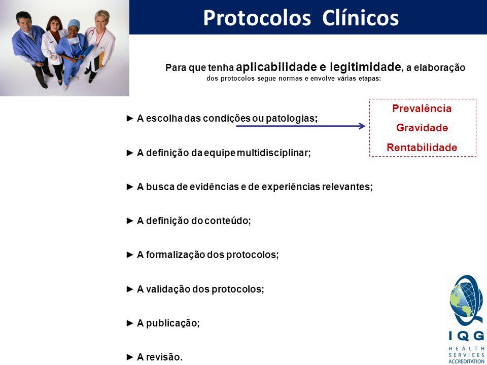 Protocolos Clínicos Para que tenha aplicabilidade e legitimidade, a elaboração dos protocolos segue normas e envolve várias etapas: A escolha das cond