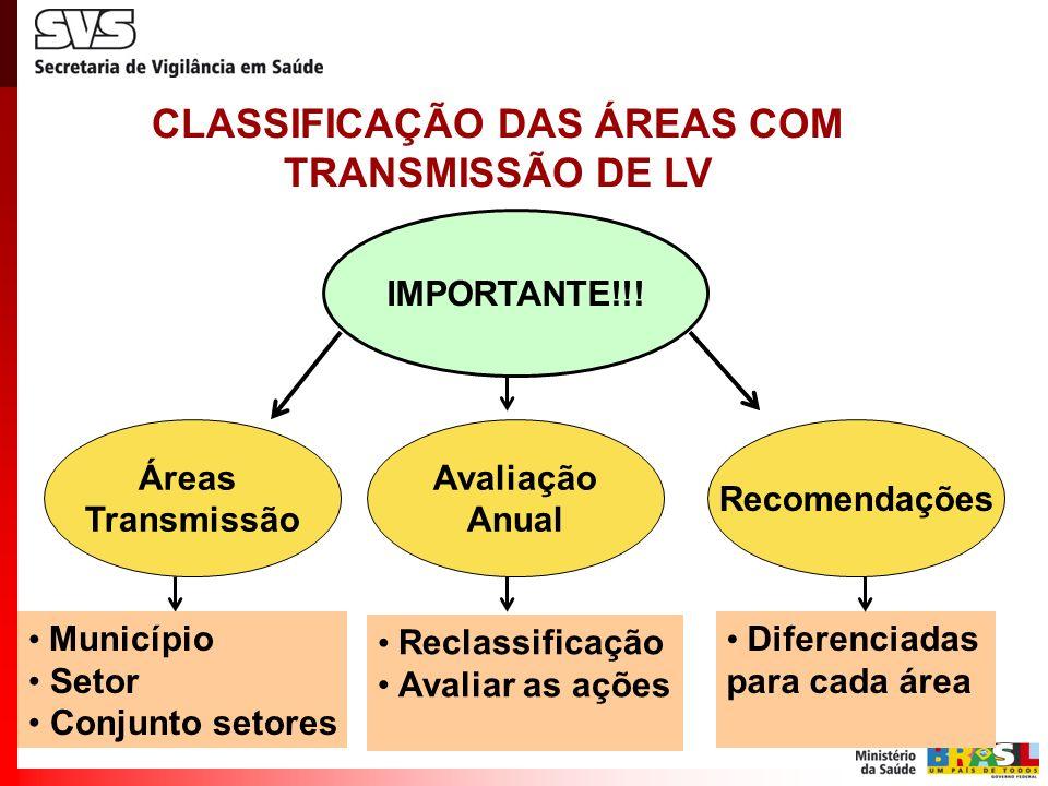 CLASSIFICAÇÃO DAS ÁREAS COM TRANSMISSÃO DE LV IMPORTANTE!!! Áreas Transmissão Município Setor Conjunto setores Avaliação Anual Reclassificação Avaliar