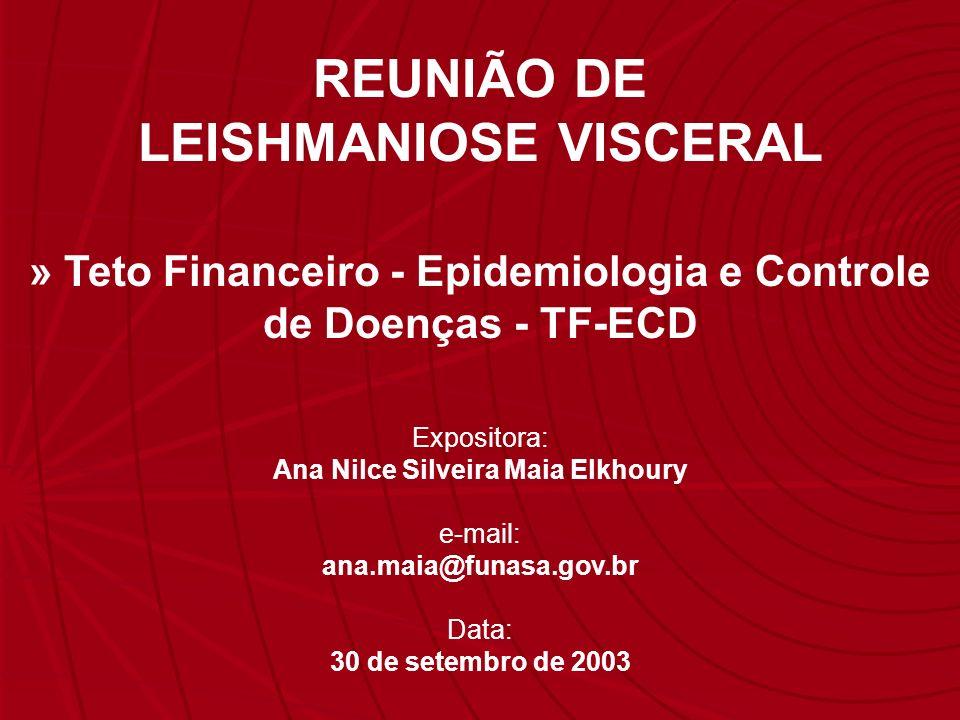 Expositora: Ana Nilce Silveira Maia Elkhoury e-mail: ana.maia@funasa.gov.br Data: 30 de setembro de 2003 REUNIÃO DE LEISHMANIOSE VISCERAL » Teto Finan