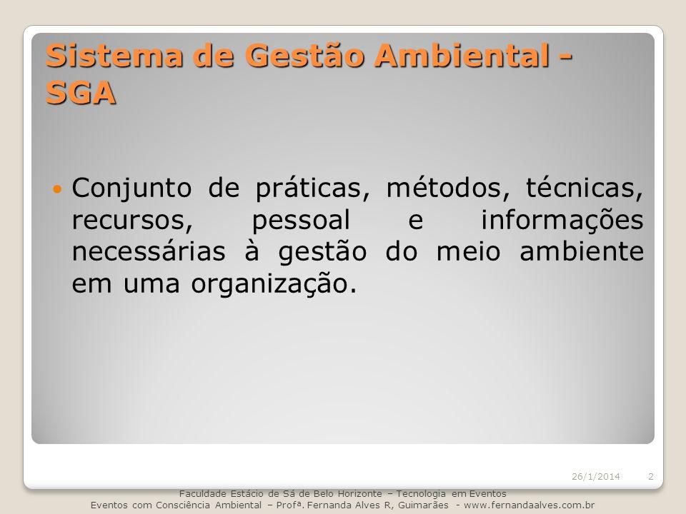 Sistema de Gestão Ambiental - SGA Conjunto de práticas, métodos, técnicas, recursos, pessoal e informações necessárias à gestão do meio ambiente em um