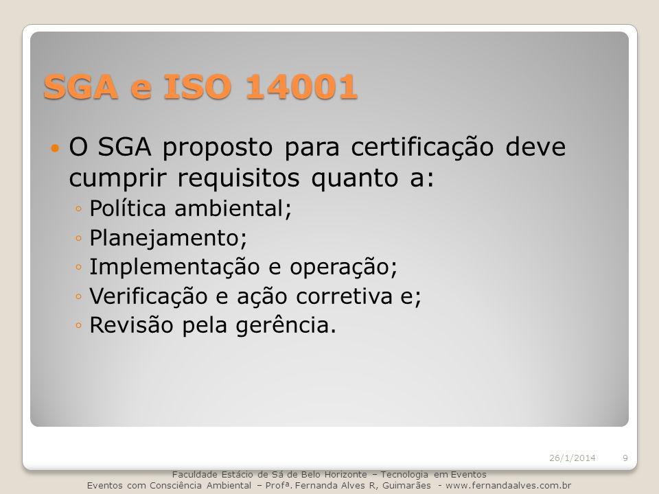 SGA e ISO 14001 O SGA proposto para certificação deve cumprir requisitos quanto a: Política ambiental; Planejamento; Implementação e operação; Verific