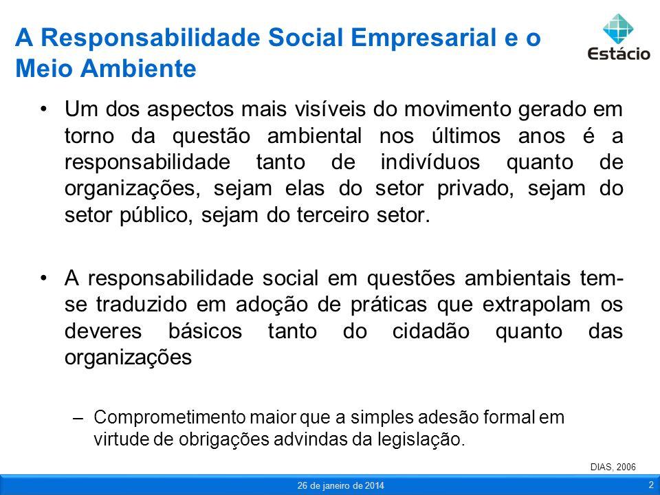 A Responsabilidade Social Empresarial e o Meio Ambiente Um dos aspectos mais visíveis do movimento gerado em torno da questão ambiental nos últimos an
