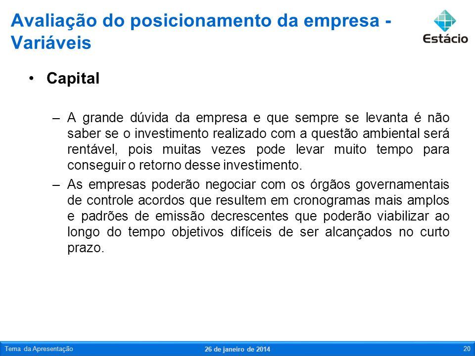 Capital –A grande dúvida da empresa e que sempre se levanta é não saber se o investimento realizado com a questão ambiental será rentável, pois muitas