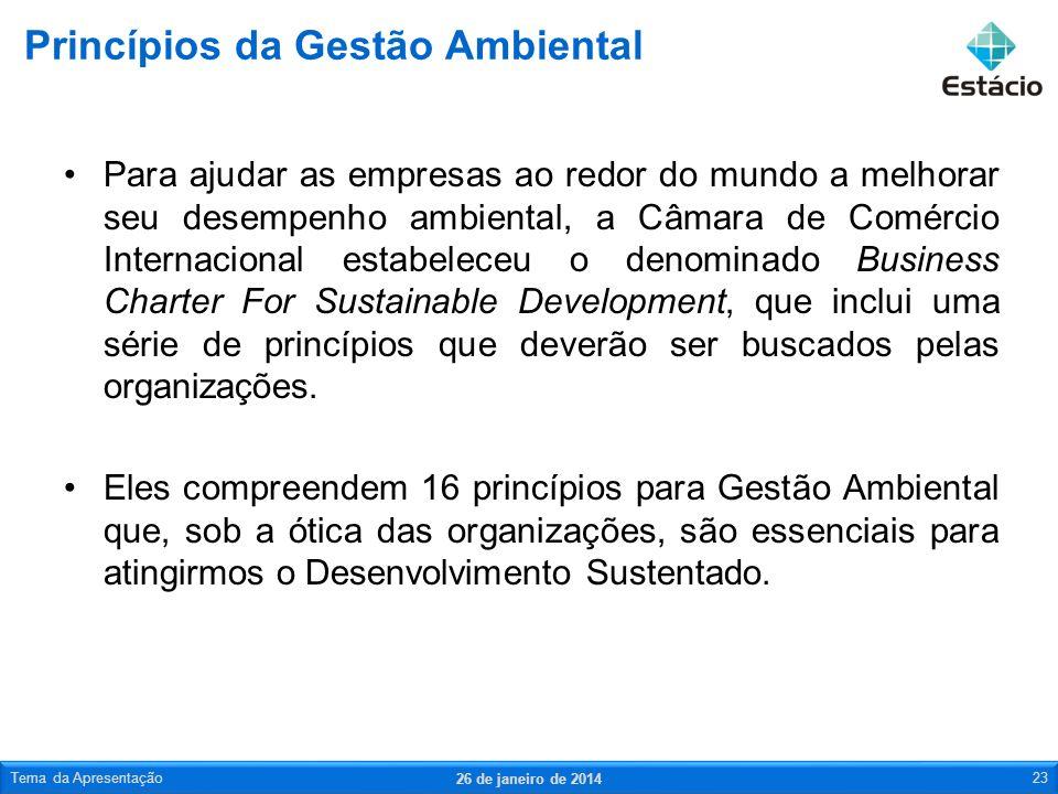 Para ajudar as empresas ao redor do mundo a melhorar seu desempenho ambiental, a Câmara de Comércio Internacional estabeleceu o denominado Business Ch