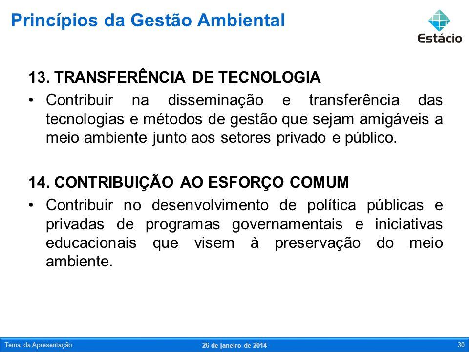 13. TRANSFERÊNCIA DE TECNOLOGIA Contribuir na disseminação e transferência das tecnologias e métodos de gestão que sejam amigáveis a meio ambiente jun