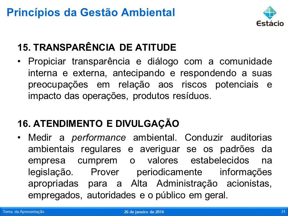 15. TRANSPARÊNCIA DE ATITUDE Propiciar transparência e diálogo com a comunidade interna e externa, antecipando e respondendo a suas preocupações em re