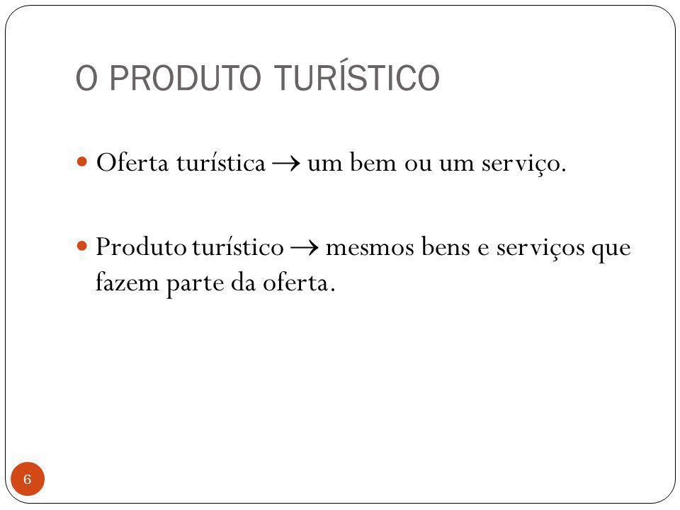 O PRODUTO TURÍSTICO 6 Oferta turística um bem ou um serviço. Produto turístico mesmos bens e serviços que fazem parte da oferta.
