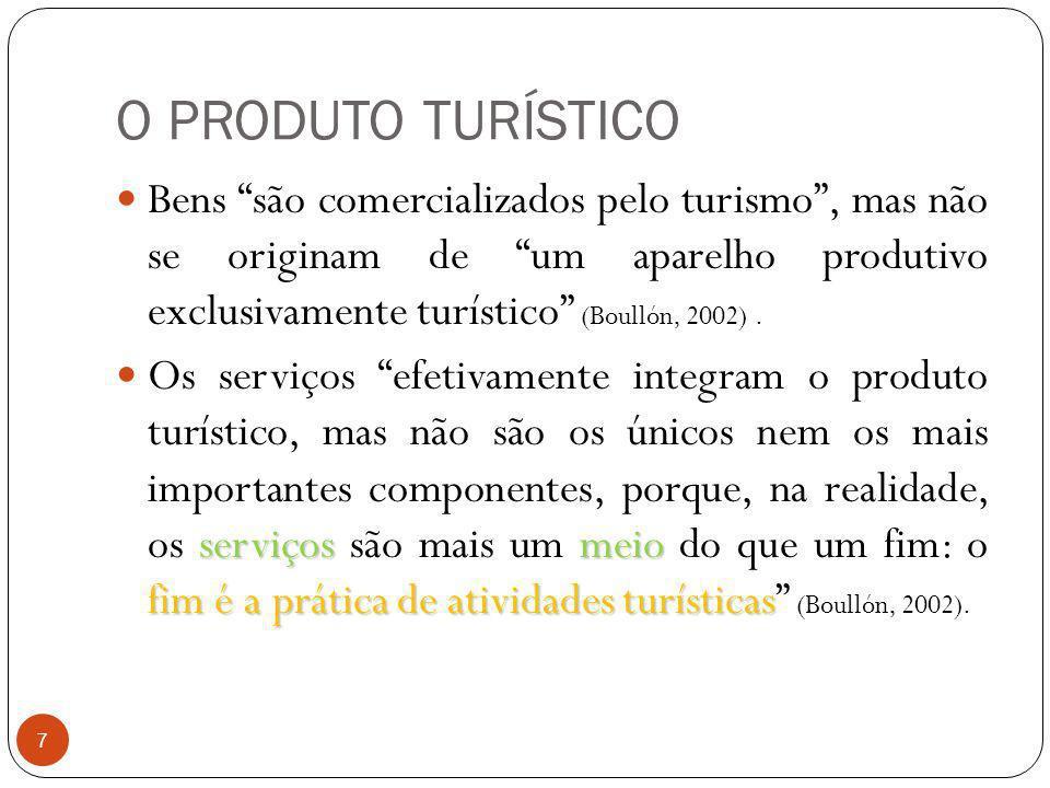 O PRODUTO TURÍSTICO 7 Bens são comercializados pelo turismo, mas não se originam de um aparelho produtivo exclusivamente turístico (Boullón, 2002). se