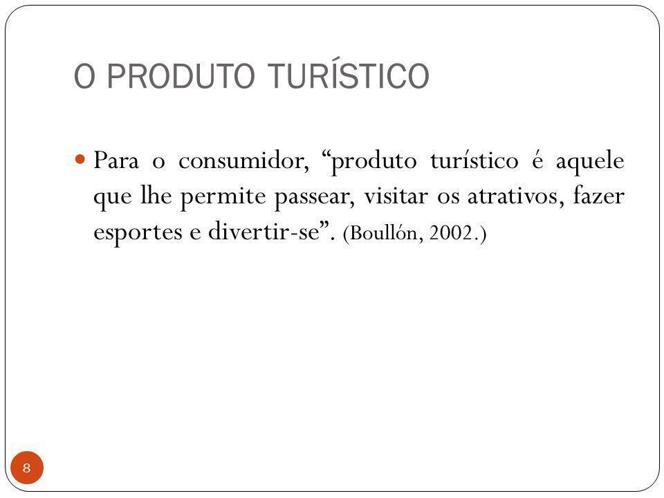 O PRODUTO TURÍSTICO 8 Para o consumidor, produto turístico é aquele que lhe permite passear, visitar os atrativos, fazer esportes e divertir-se. (Boul