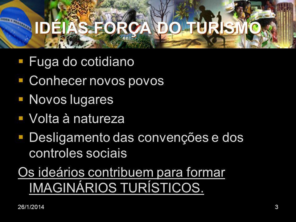 26/1/20143 IDÉIAS FORÇA DO TURISMO Fuga do cotidiano Conhecer novos povos Novos lugares Volta à natureza Desligamento das convenções e dos controles s