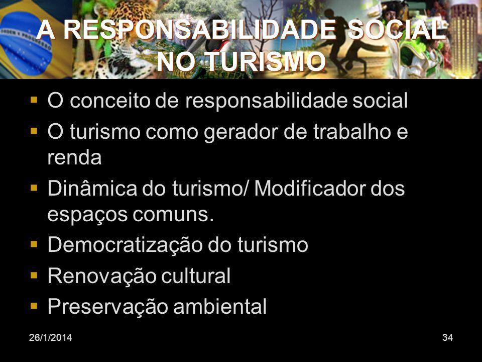 26/1/201434 A RESPONSABILIDADE SOCIAL NO TURISMO O conceito de responsabilidade social O turismo como gerador de trabalho e renda Dinâmica do turismo/