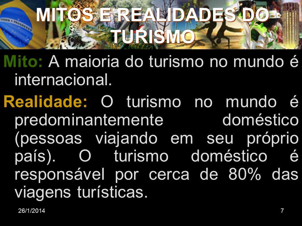 7 MITOS E REALIDADES DO TURISMO Mito: A maioria do turismo no mundo é internacional. Realidade: O turismo no mundo é predominantemente doméstico (pess
