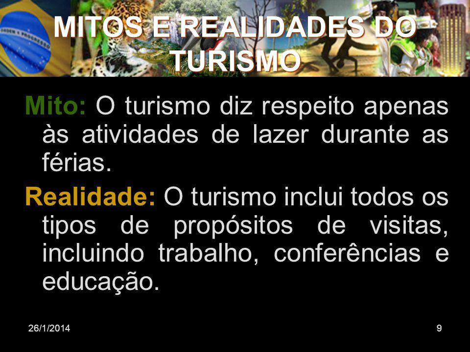 26/1/20149 Mito: O turismo diz respeito apenas às atividades de lazer durante as férias. Realidade: O turismo inclui todos os tipos de propósitos de v