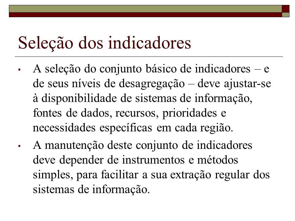 Seleção dos indicadores A seleção do conjunto básico de indicadores – e de seus níveis de desagregação – deve ajustar-se à disponibilidade de sistemas