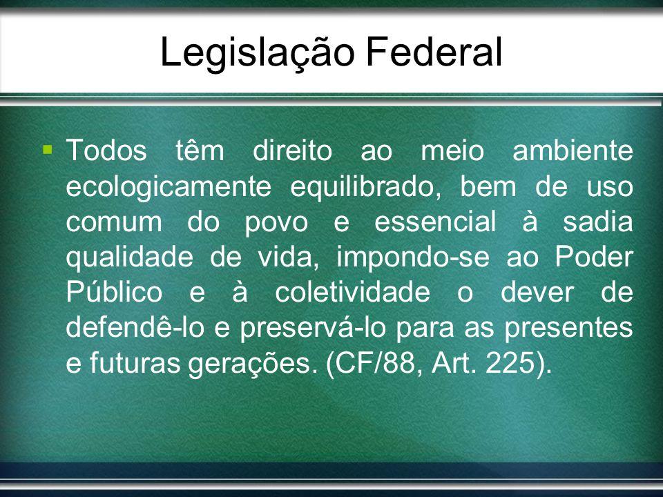 Legislação Federal Todos têm direito ao meio ambiente ecologicamente equilibrado, bem de uso comum do povo e essencial à sadia qualidade de vida, impo