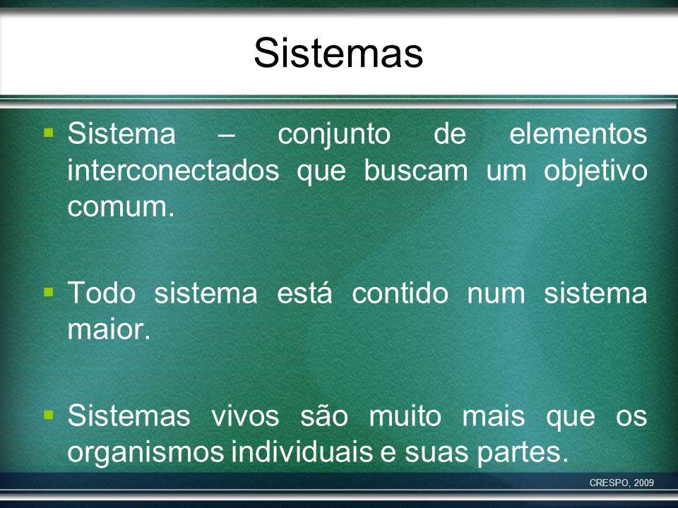 Sistemas Sistema – conjunto de elementos interconectados que buscam um objetivo comum. Todo sistema está contido num sistema maior. Sistemas vivos são