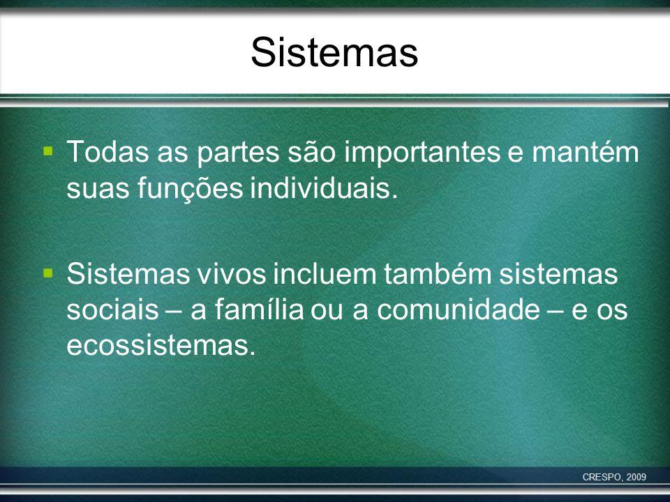 Sistemas Todas as partes são importantes e mantém suas funções individuais. Sistemas vivos incluem também sistemas sociais – a família ou a comunidade