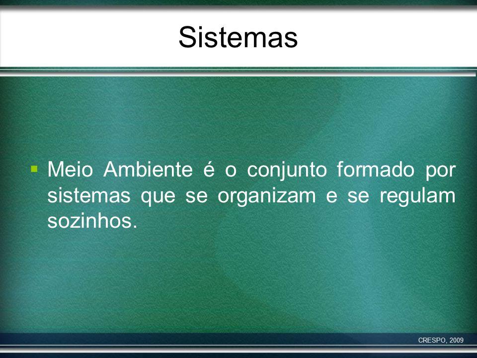 Sistemas Meio Ambiente é o conjunto formado por sistemas que se organizam e se regulam sozinhos. CRESPO, 2009