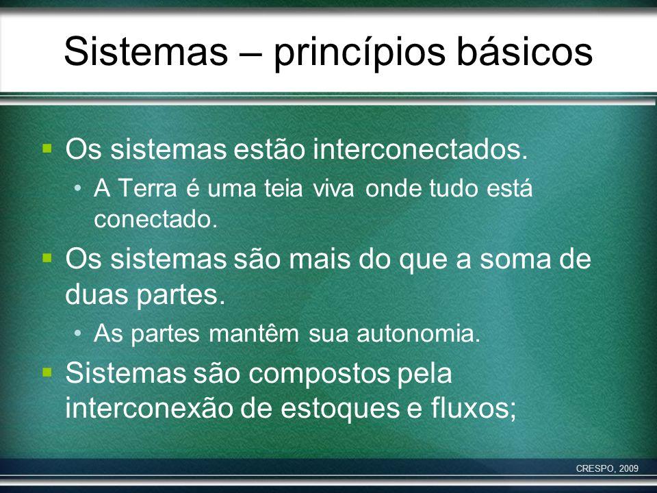 Sistemas – princípios básicos Os sistemas estão interconectados. A Terra é uma teia viva onde tudo está conectado. Os sistemas são mais do que a soma