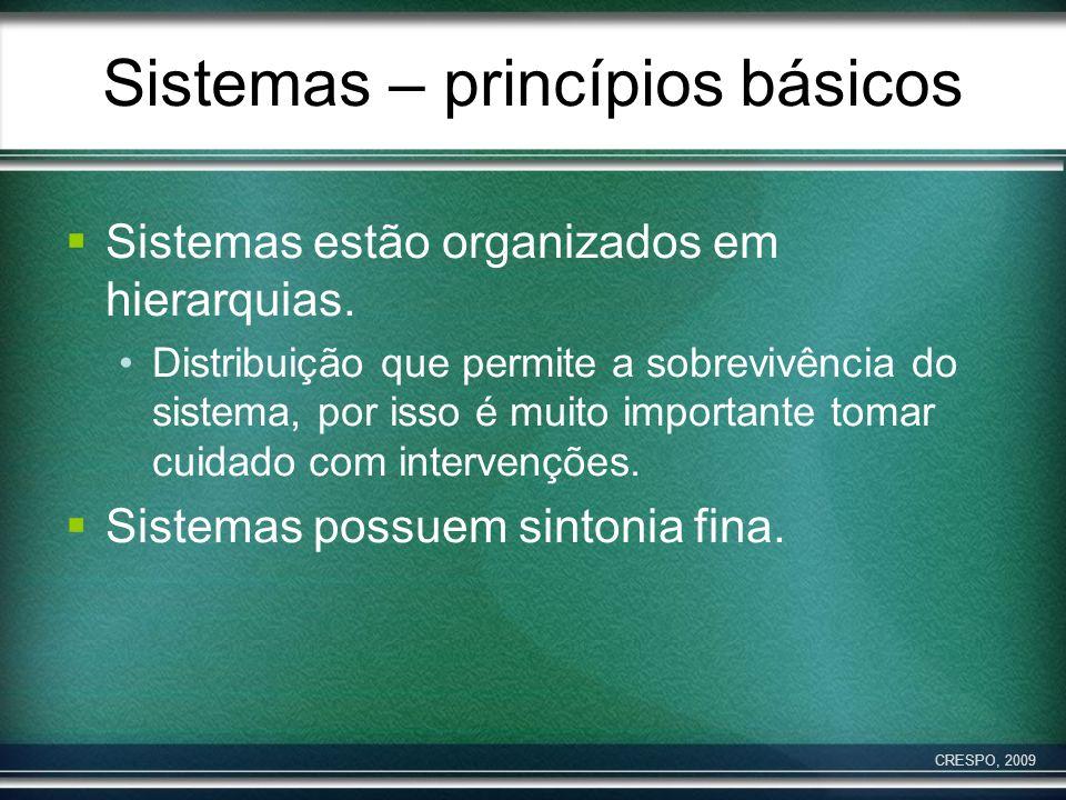 Sistemas – princípios básicos Sistemas estão organizados em hierarquias. Distribuição que permite a sobrevivência do sistema, por isso é muito importa