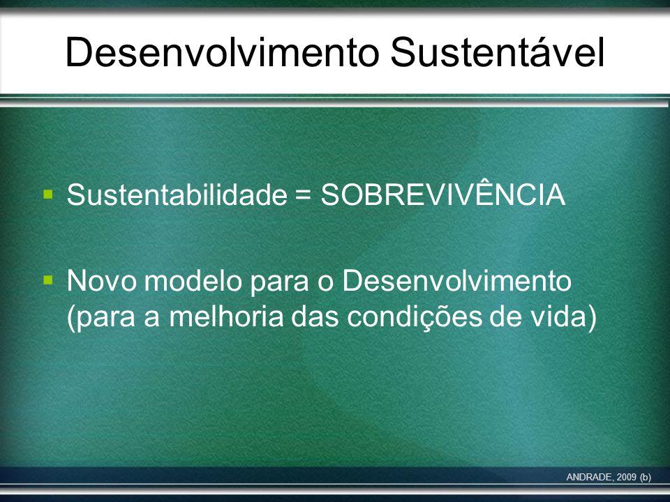 Desenvolvimento Sustentável Sustentabilidade = SOBREVIVÊNCIA Novo modelo para o Desenvolvimento (para a melhoria das condições de vida) ANDRADE, 2009