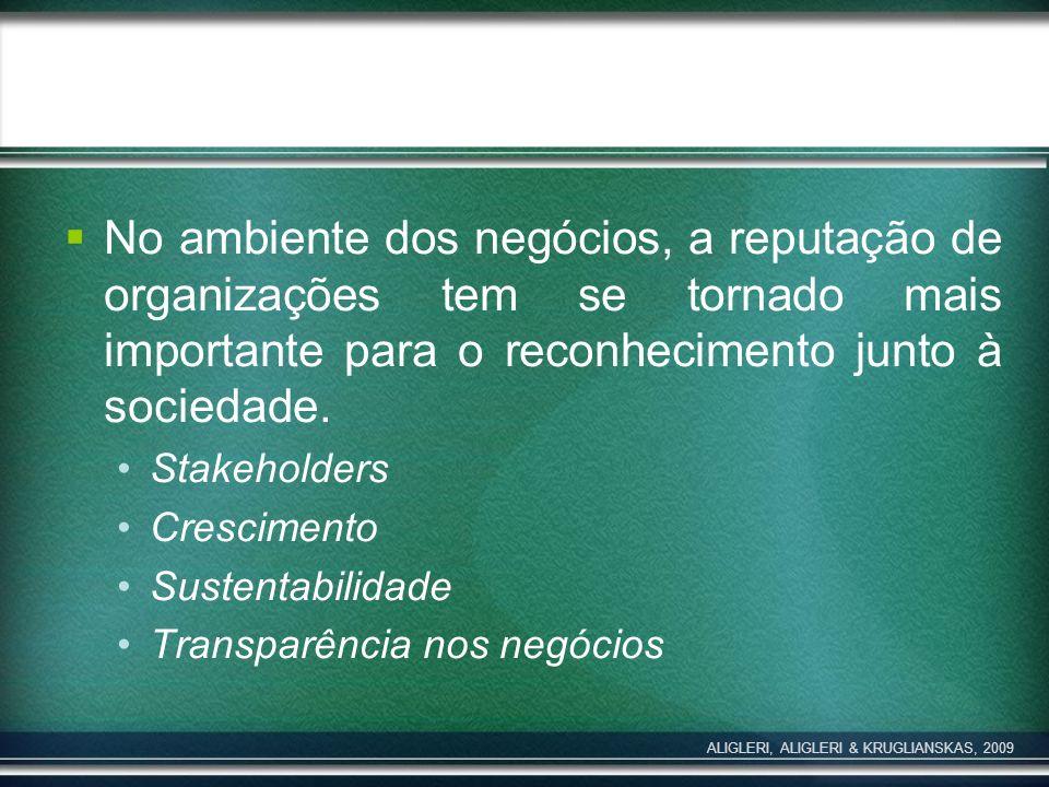 No ambiente dos negócios, a reputação de organizações tem se tornado mais importante para o reconhecimento junto à sociedade. Stakeholders Crescimento