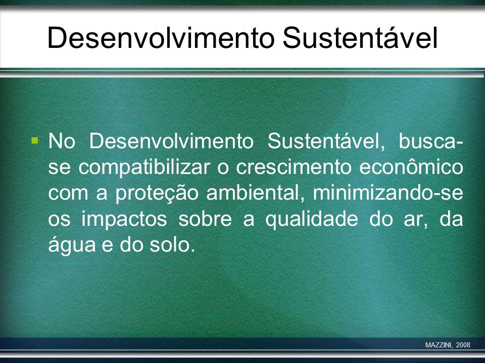 Desenvolvimento Sustentável No Desenvolvimento Sustentável, busca- se compatibilizar o crescimento econômico com a proteção ambiental, minimizando-se