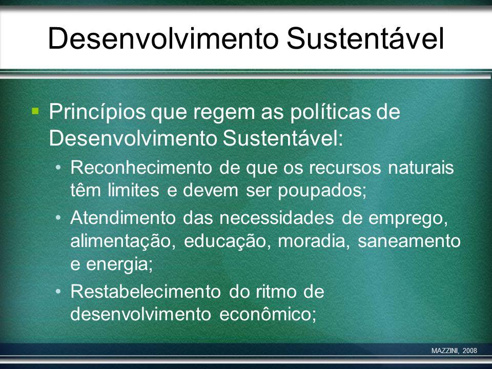 Desenvolvimento Sustentável Princípios que regem as políticas de Desenvolvimento Sustentável: Reconhecimento de que os recursos naturais têm limites e