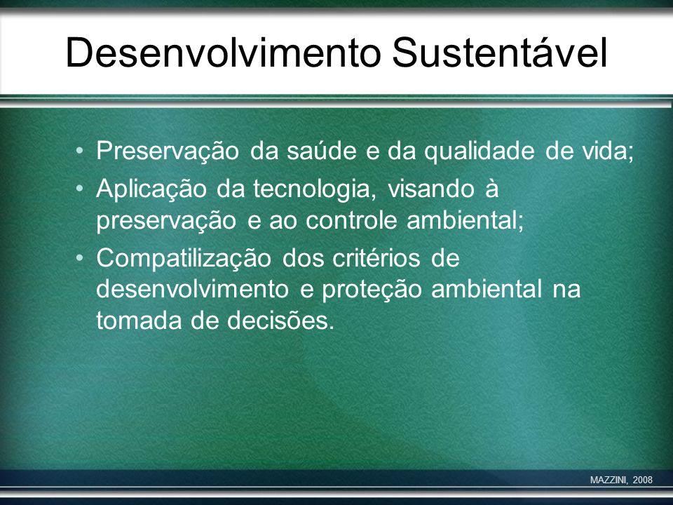 Desenvolvimento Sustentável Preservação da saúde e da qualidade de vida; Aplicação da tecnologia, visando à preservação e ao controle ambiental; Compa