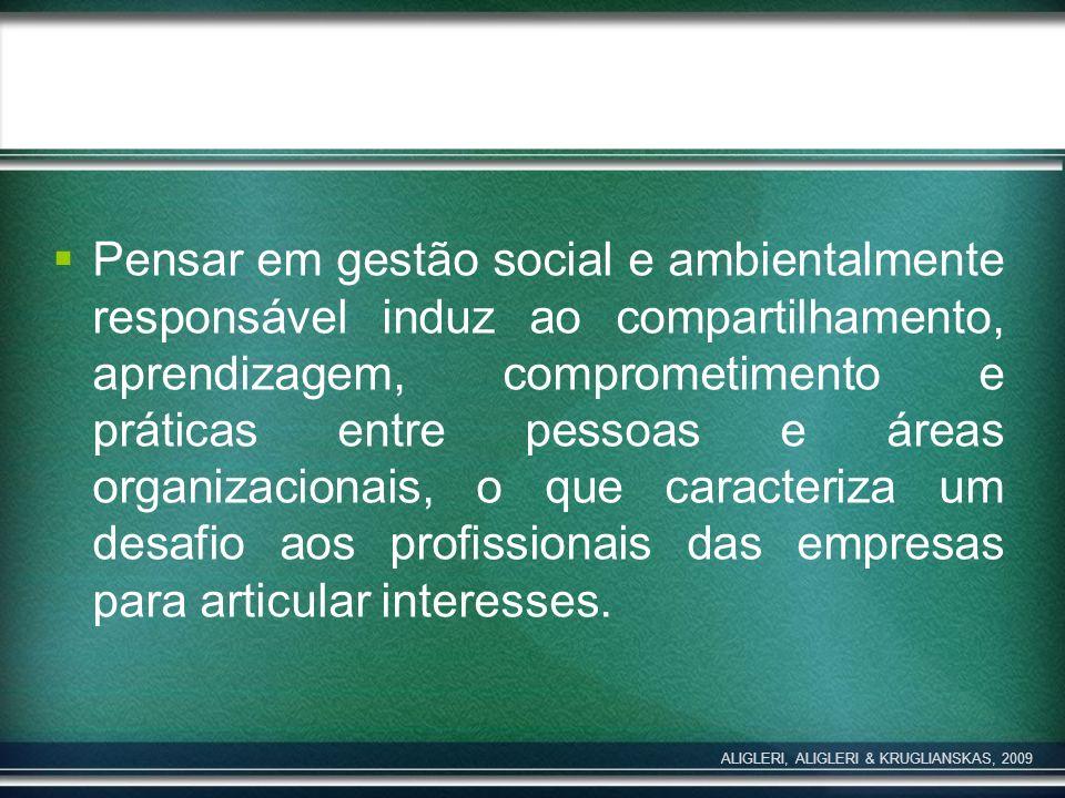 Pensar em gestão social e ambientalmente responsável induz ao compartilhamento, aprendizagem, comprometimento e práticas entre pessoas e áreas organiz